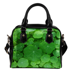 Nature Themed Design B7 Women Fashion Shoulder Handbag Black Vegan Faux Leather