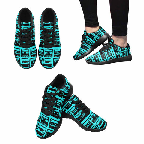 Model020 Women's Sneaker 80s Cassette Tapes Teal and Black - STUDIO 11 COUTURE