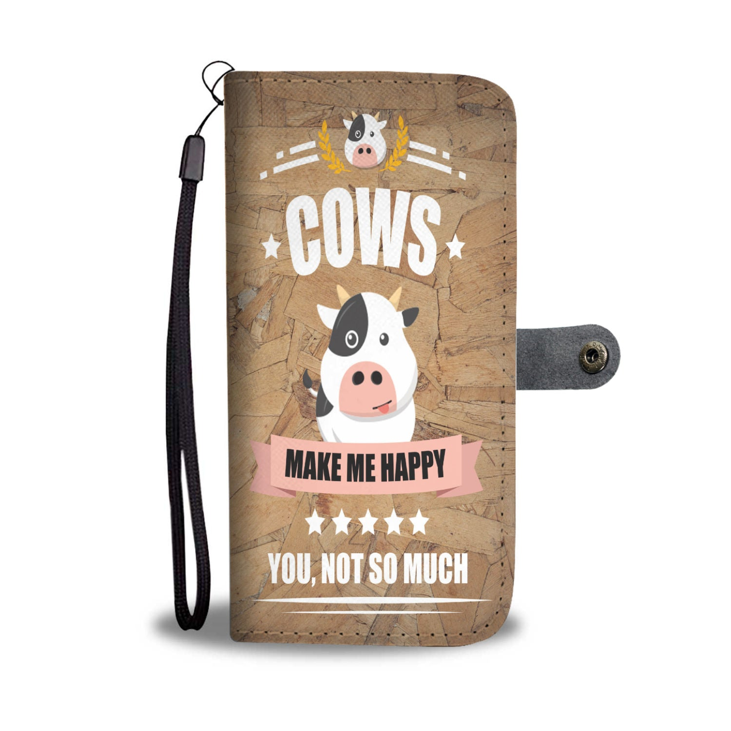 Custom Phone Wallet Available For All Phone Models Cow's Make Me Happy Phone Wallet