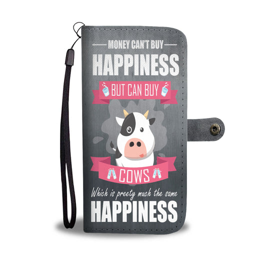 Custom Phone Wallet Available For All Phone Models Money Can't Buy Happiness But Can Buy Cows Phone Wallet - STUDIO 11 COUTURE