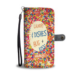 Custom Phone Wallet Available For All Phone Models Laundry And Dishes Hug + Kiss Phone Wallet - STUDIO 11 COUTURE