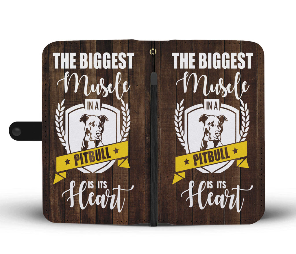Custom Phone Wallet Available For All Phone Models The Biggest Muscle In A Pitbull Is Its Heart Phone Wallet - STUDIO 11 COUTURE