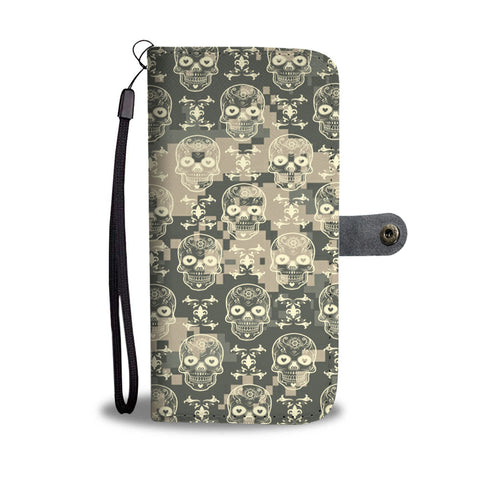 Custom Phone Wallet Available For All Phone Models Camo Skull Phone Wallet