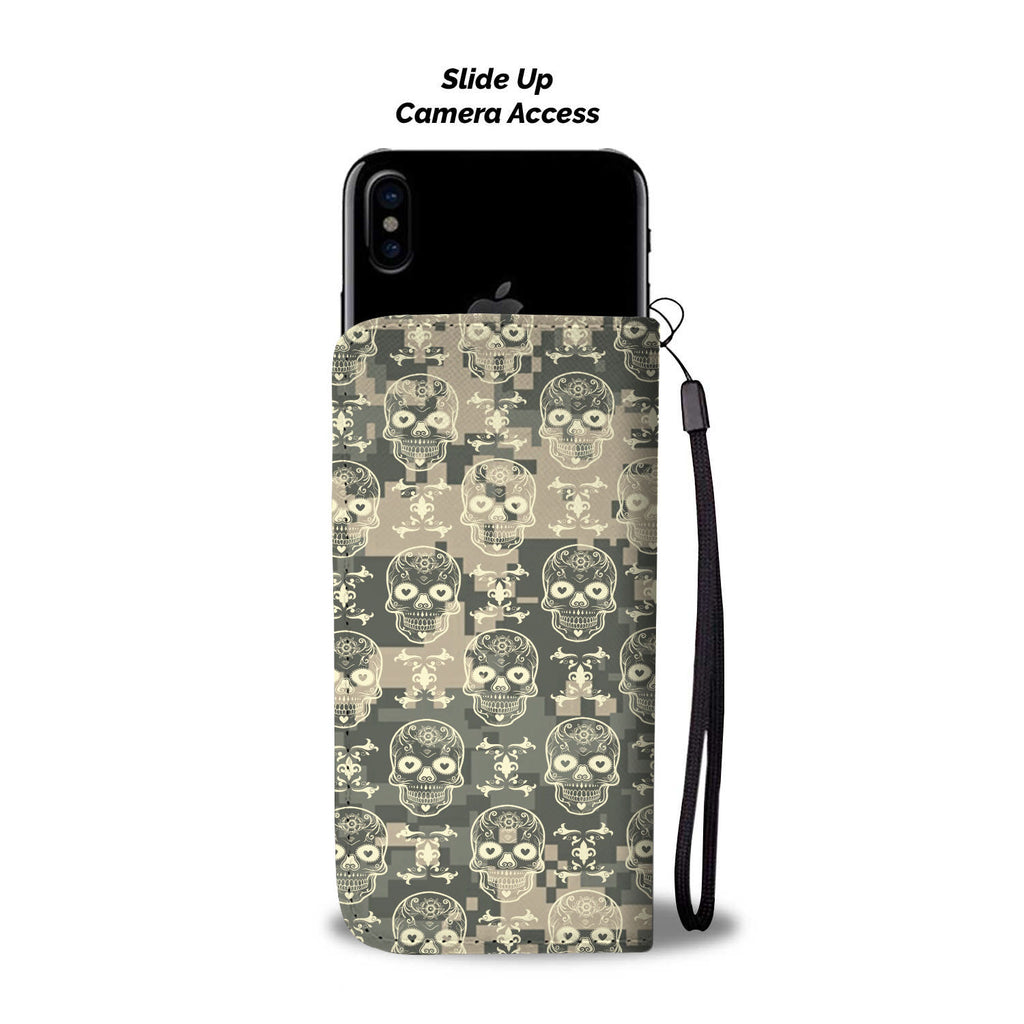 Custom Phone Wallet Available For All Phone Models Camo Skull Phone Wallet - STUDIO 11 COUTURE