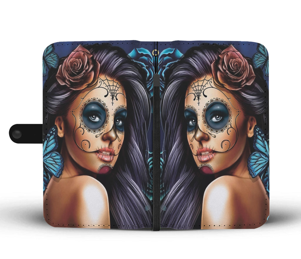 Custom Phone Wallet Available For All Phone Models Sugar Skull Blue Phone Wallet - STUDIO 11 COUTURE