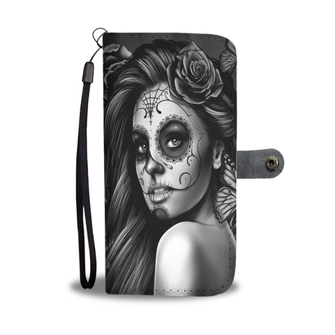 Custom Phone Wallet Available For All Phone Models Sugar Skull Gray Phone Wallet - STUDIO 11 COUTURE