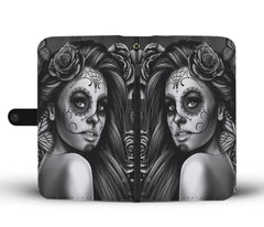 Custom Phone Wallet Available For All Phone Models Sugar Skull Gray Phone Wallet
