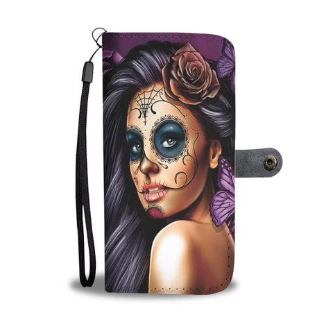 Custom Phone Wallet Available For All Phone Models Sugar Skull Violet Phone Wallet