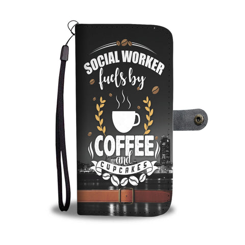 Custom Phone Wallet Available For All Phone Models Social Worker Fuels By Coffee And Cupcake Phone Wallet - STUDIO 11 COUTURE