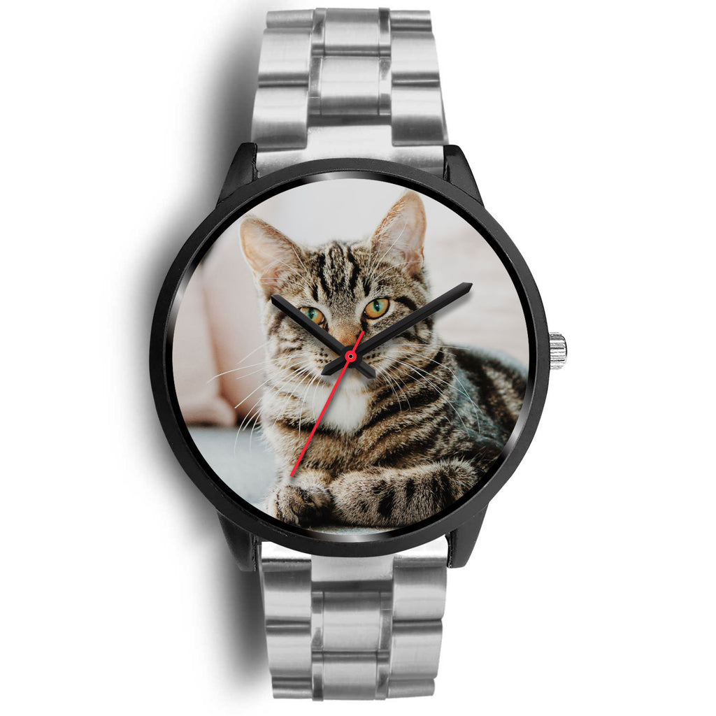 Custom Design Your Own Black Watch With Your Personal Memory Photo (Cat)