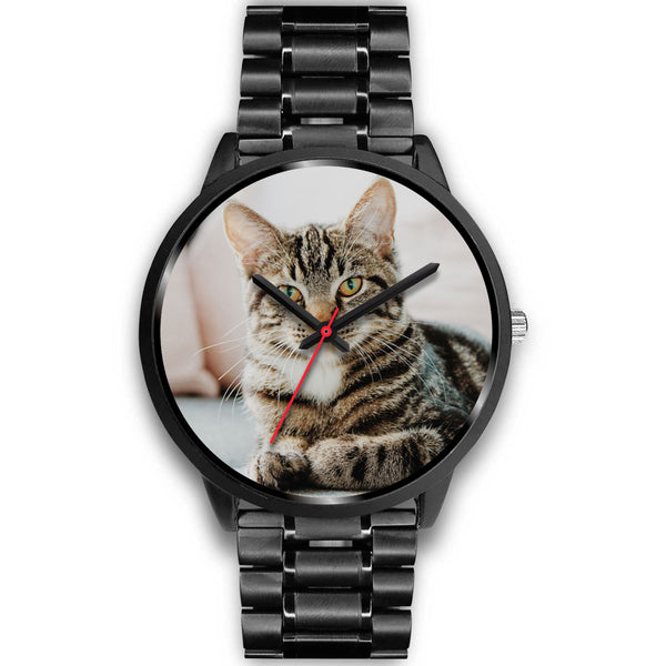Personalized, Custom Design Your Own Black Watch Cat A1 With Your Personal Memory Photo, Gift For Her, Gift For Him