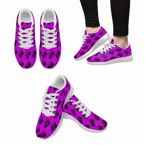Model020 Women's Sneaker 80s Boombox Purple Fuchsia and Black - STUDIO 11 COUTURE
