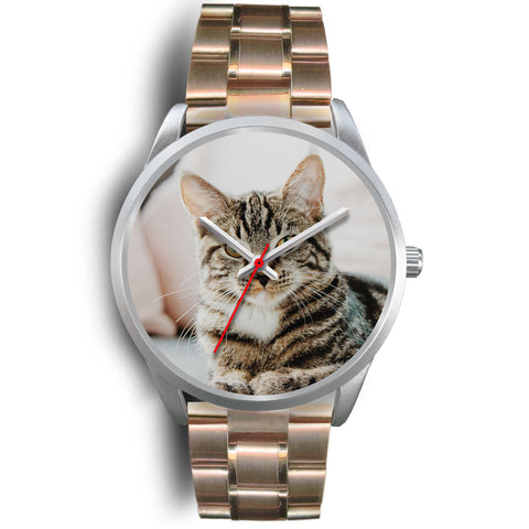 Personalized, Custom Design Your Own Silver Watch Cat A2 With Your Personal Memory Photo, Gift For Her, Gift For Him