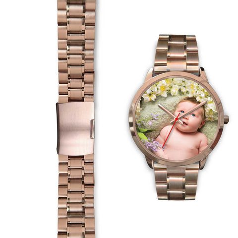 Personalized, Custom Design Your Own Rose Gold Watch B1 Your Personal Baby Memory Photo, Gift For Her, Gift For Him