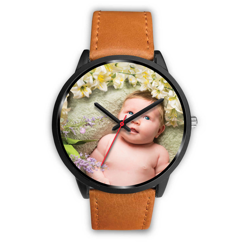 Personalized, Custom Design Your Own Black Watch B3 Your Personal Baby Memory Photo, Gift For Her, Gift For Him