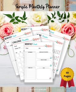 PLANNER Simple Monthly, Weekly, Daily Goals Journal 59 pages with Bonus