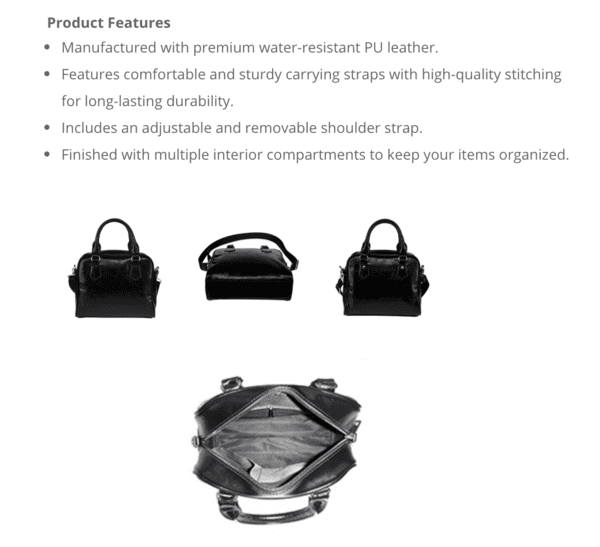 Jems and Holograms Themed Design B7 Women Fashion Shoulder Handbag Black Vegan Faux Leather