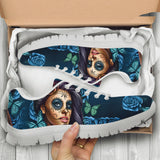 Blue Sugar Skull Girl Womens Athletic Sneakers