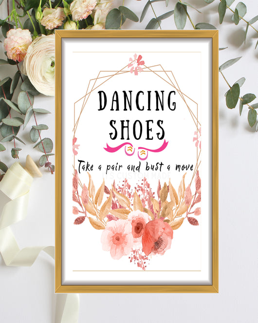 Tropical Dancing Shoes Sign For Wedding - Burgundy Navy Greenery Wedding Decor - Dancing Feet Sign Printable - Burgundy And Greenery Wedding Sign