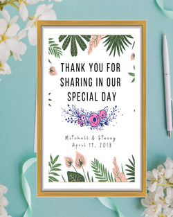 Tropical Wedding Thank You Sign - Mauve and Greenery Decor - Printable Wedding Sign - Lavender Wedding - Custom Sign - Thank You Sign Wedding