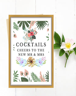 Tropical Cocktails Sign - Cheers to the New Mr and Mrs Sign - Purple Wedding Decor - Purple and Green Wedding - Wedding Bar Sign - Wedding Cocktails