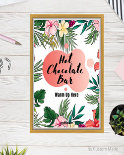 Tropical Hot Chocolate Bar Sign - Navy Gold Burgundy Wedding - Hot Chocolate Station Sign - Winter Wedding Signs - Navy Gold Blush - Warm Up Here