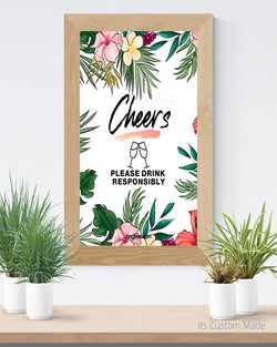Tropical Printable Bar Sign - Cheers Sign - Cheers Bar Sign - Rustic Greenery Wedding Sign - Rustic Botanical Decor - Wedding Bar Printable - Cheers