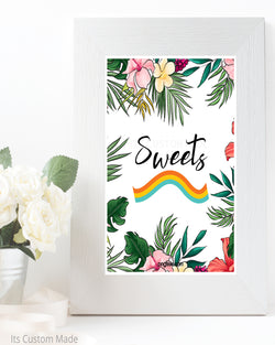 Tropical Sweets Table Sign - Printable Bridal Shower Decor - Neutral Boho Floral Decorations - Bohemian Bridal Brunch Decor - Printable Signage