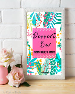 Tropical Dessert Bar Sign - Wedding Dessert Table Sign - Dusty Blue and Blush Wedding Decor - Blue and Rose Wedding Decor - Dusty Blue Blush Gray