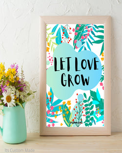 Tropical Let Love Grow Sign - Seed Favor Sign - Seed Favors - Let Love Grow Print - Floral Family Print - Cottage Chic Decor - Instant Download 8x10