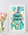 Tropical Bagel Station Sign - Bagel Bar Brunch Sign - Bridal Brunch Sign - Brunch and Bubbly Bridal Shower - Bridal Brunch Ideas - Tropical Brunch