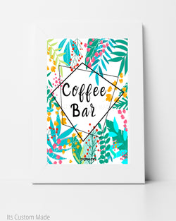Tropical Coffee Bar Sign - Geometric Tropical Party Decor - Gold and Green Geometric Signage - Modern Tropical Bridal Shower - Bridal Brunch Decor