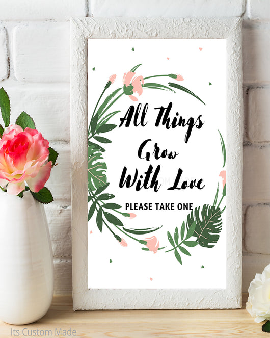 Tropical All Things Grow With Love Favor Sign - Watch Love Grow Favor Tags - Bridal Shower Favors Printable - Peach and Blush Rustic Floral Decor