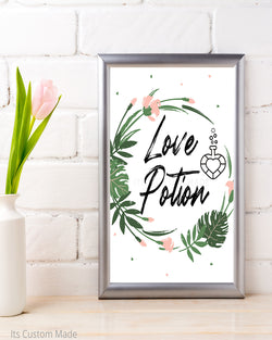 Tropical Bachelorette Party Decor - Love Potion Sign - Tropical Bridal Shower Bar Sign - Bridal Shower Drinks Sign - Printable Sign - Tropical Decor