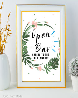 Tropical Open Bar Sign - Wedding Bar Sign - Cheers to the Bride and Groom - Cheers to the Newlyweds - New Years Eve Wedding - Green Gold and Black