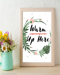 Tropical Warm Up Here Sign - Winter Wedding Sign - Winter Wedding Decor - Hot Chocolate Bar Sign - Coffee Bar Sign - Coffee and Tea Sign - Cotton