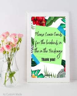Tropical Cards for the Lovebirds Sign - Birdcage Card Holder Wedding Sign - Wedding Cards Sign - Lovebirds Wedding Sign - Printable Card Box Sign