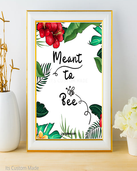 Tropical Meant To Bee Favor Sign - Honey Favors Printable - Honey Spoon Favors Sign - Beeswax Candle Favors Sign - Wedding Honey Favors Sign