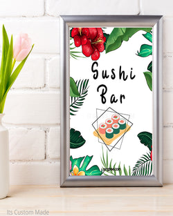 Tropical Sushi Bar Wedding Sign - Sushi Bar Party Printable - Sushi Buffet Sign - Sushi Party Decor - Sushi Wedding Bar - Sushi Wedding Station Sign