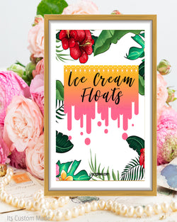 Tropical Wedding Ice Cream Floats Sign - Ice Cream Float Station - Ice Cream Float Bar Sign - Ice Cream Wedding Bar - Tropical Party Printable Sign