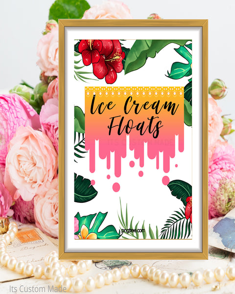 Copy of Tropical Wedding Ice Cream Floats Sign - Ice Cream Float Station - Ice Cream Float Bar Sign - Ice Cream Wedding Bar - Tropical Party Printable Sign