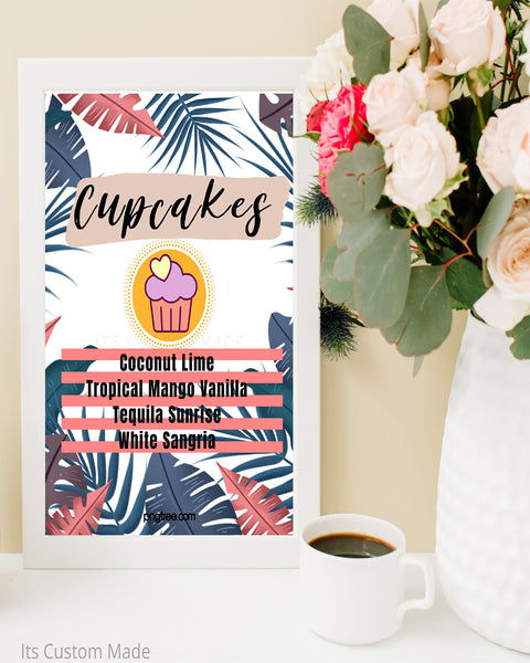 Copy of Tropical Custom Cupcake Flavors Sign - Cupcake Flavors Wedding Printable - Tropical Hawaiian Decor - Luau Bridal Shower - Aloha Bridal Shower Signs