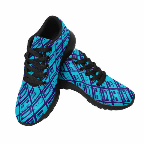 Model020 Women's Sneaker 80s Cassette Tapes Blue and Black - STUDIO 11 COUTURE