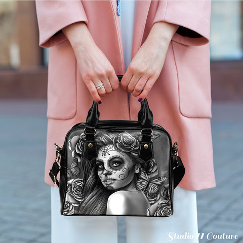 Grey Sugar Skull Girl Theme Women Fashion Shoulder Handbag Black Vegan Faux Leather - STUDIO 11 COUTURE