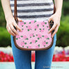 Image of Ballerina Rose (A2) Crossbody Shoulder Canvas Leather Saddle Bag