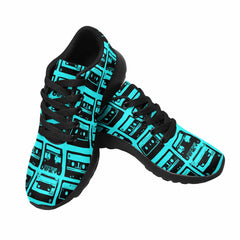 Model020 Women's Sneaker 80s Cassette Tapes Teal and Black
