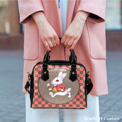 Alice In Wonderland White Rabbit Checker Theme Women Fashion Shoulder Handbag Black Vegan Faux Leather