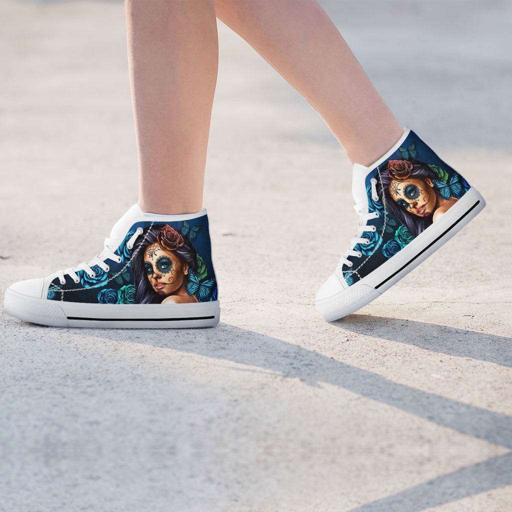 Blue Sugar Skull Girl Womens High Top Shoes