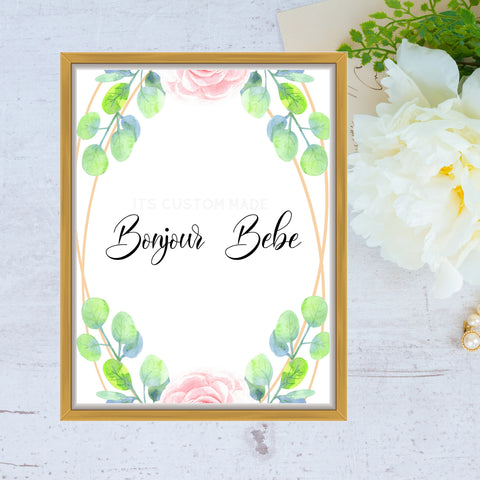 Bonjour Bebe Baby Party Shower Wall Art Sign - French Baby Shower Wall Art Decorations - Blue and Green Baby Shower Decor Sign - French Market Baby Shower Wall Art Printable Signage