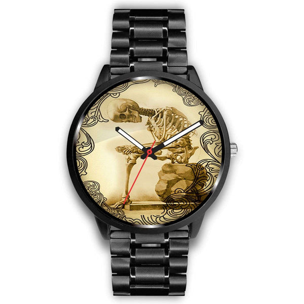 Limited Edition Vintage Inspired Custom Watch Thinking Skeleton Anatomy 1.8